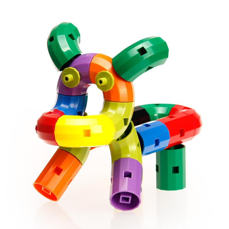 幼儿园旋转拼装水管道积木塑料拼插益智儿童玩具男孩女孩3-6周岁