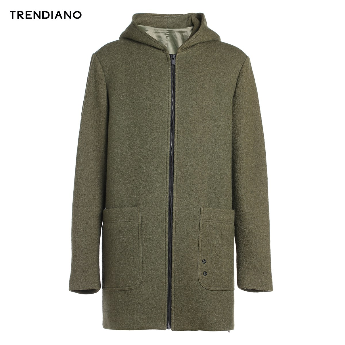 TRENDIANO新男装秋装中长款连帽纯色毛呢外套大衣外套3JC334606P