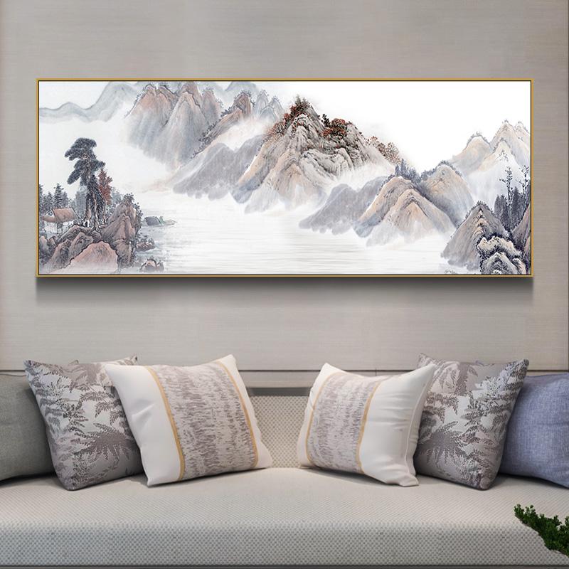 山水画新中式客厅风水靠山装饰画水墨国画办公室招财背景墙壁挂画