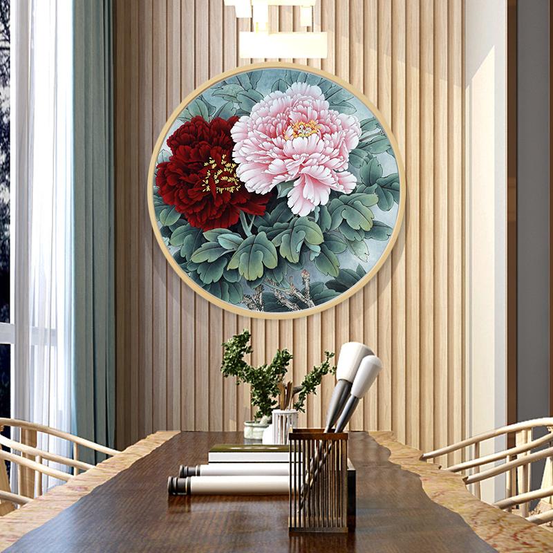 牡丹花玄關掛畫新中式花開富貴招財風水國畫客廳圓形牡丹圖裝飾畫