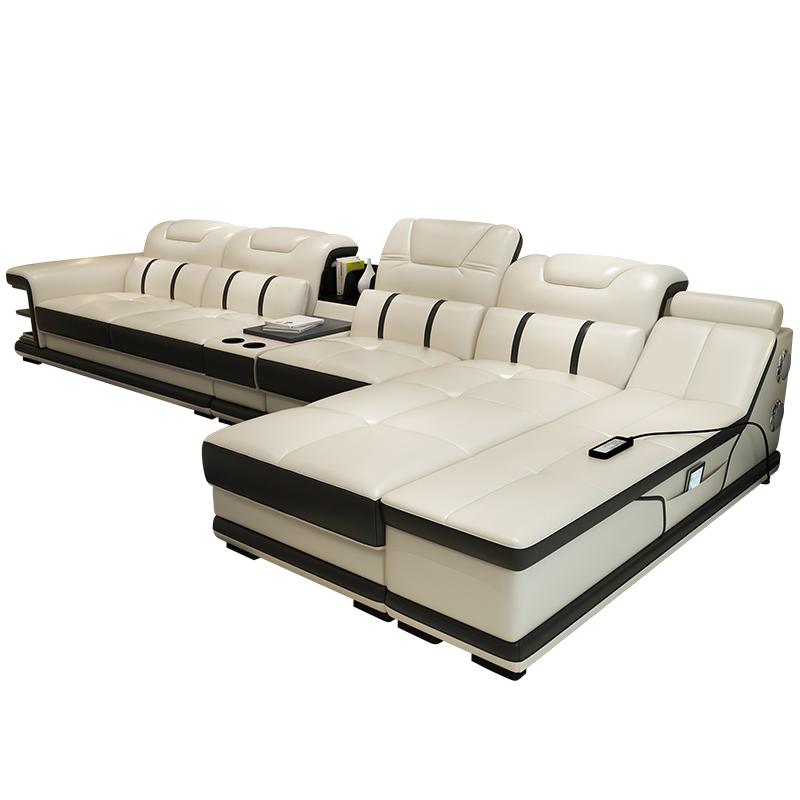 皮沙发 客厅转角组合大小户型 牛皮沙发组合音乐智能按摩真皮沙发