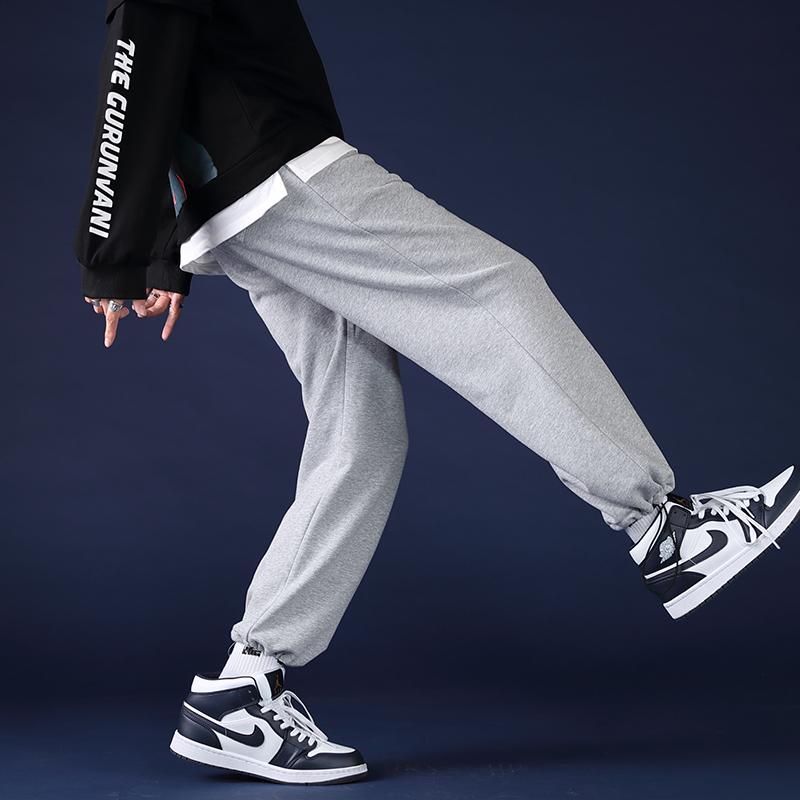 春秋灰色运动裤宽松束脚裤子男韩版潮流休闲长裤夏季卫裤直筒抽绳