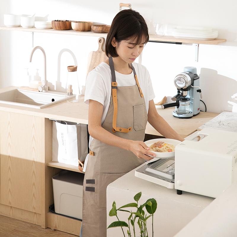 咖啡店围裙女时尚家用厨房防水韩版可爱纯棉背心式家务烘培工作服