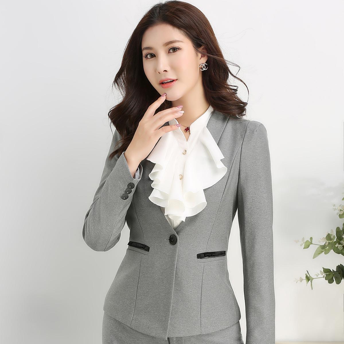 芷芸烟 春秋装新款 长袖气质职业套装女装套裙白领工作服 3291