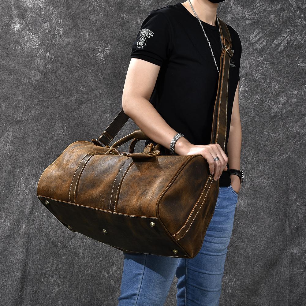 牛皮单肩斜挎手提行李袋 复古大容量男士疯马皮旅行包 二十四街