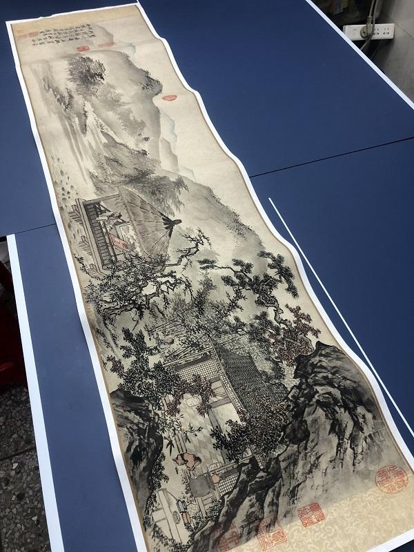 名画复制品唐寅唐伯虎松崖别业写意山水画国画艺术微喷临摹装饰画