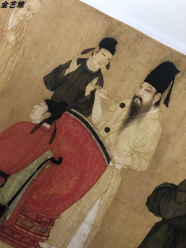 1:1古代名畫真跡高清復制品南唐顧閎中韓熙載夜宴圖進口絹布微噴