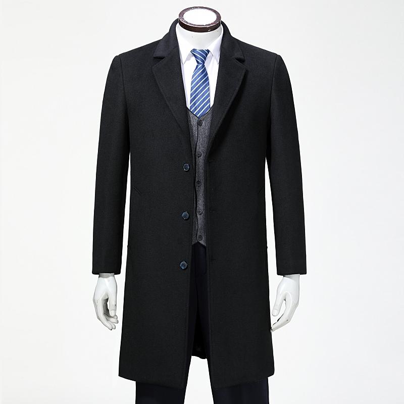 高档男士羊绒大衣 西装领英伦毛呢大衣风衣长款男商务外套爸爸装