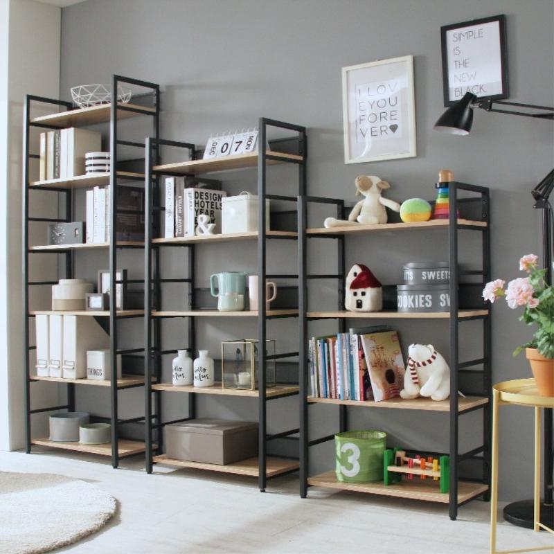置物架書架儲物簡易書櫃客廳臥室收納架鋼木鐵藝簡約架子層架花架