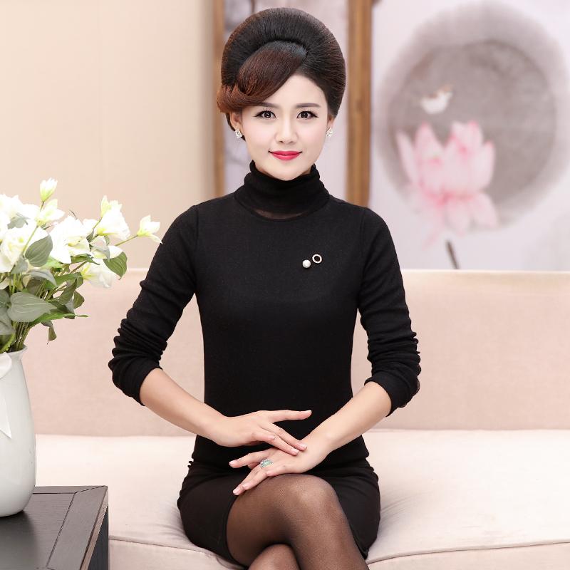 新款秋冬时尚妈妈装高领加绒打底衫长袖打底内衣