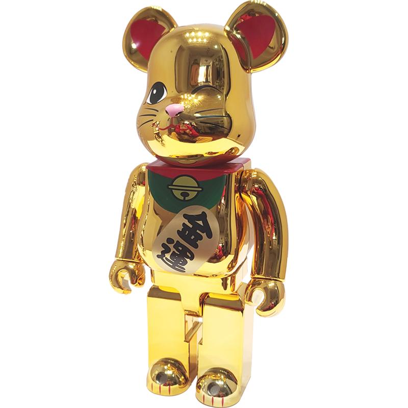 礼品 玩偶摆件 潮流树脂玩具熊 全可动关节 金银电镀 金运千万两