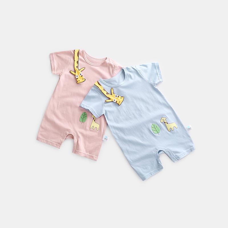 齐齐熊婴幼儿夏季连体衣短袖哈衣男女宝宝卡通长颈鹿纯棉爬爬服