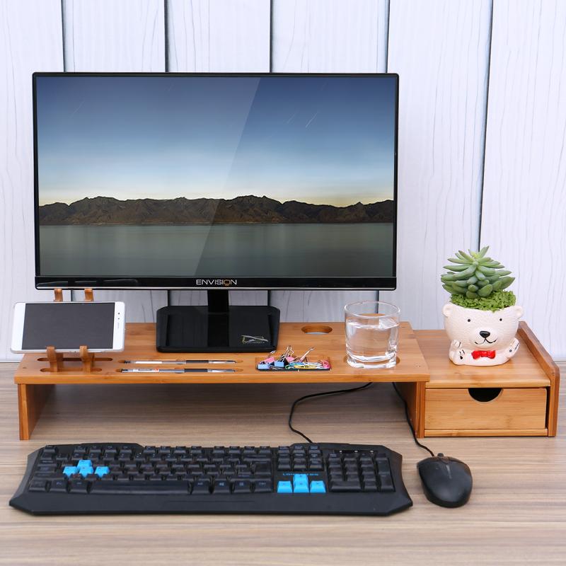 楠竹电脑显示器增高架电脑桌面键盘置物架显示器收纳整理托盘架子