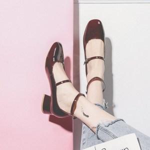 半曲定制女鞋半曲一字扣玛丽珍鞋女复古中跟方头2019夏款酒红色单