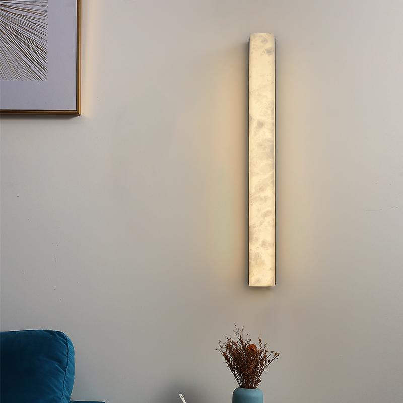 新中式全铜云石客厅背景墙壁灯现代简约设计师过道卧室床头壁灯具