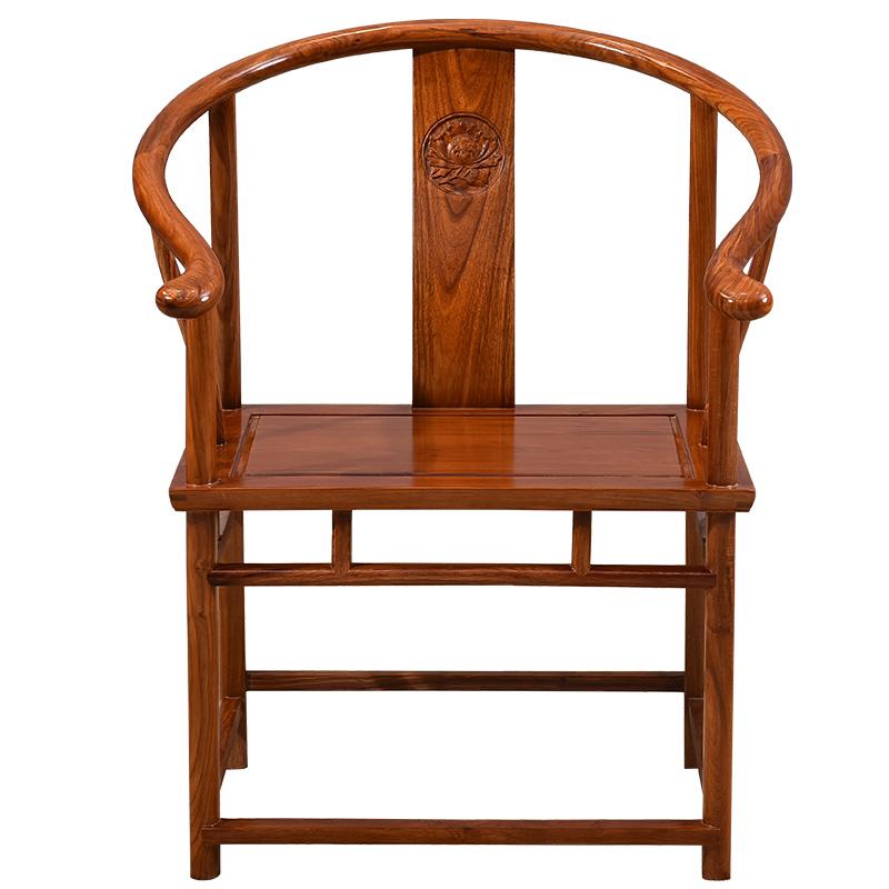 红木家具花梨木圈椅三件套中式刺猬紫檀太师椅官帽椅实木椅子茶椅