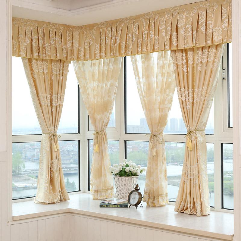 特价欧式客厅卧室成品落地网纱蕾丝飘窗半遮光小短半窗帘布料清仓