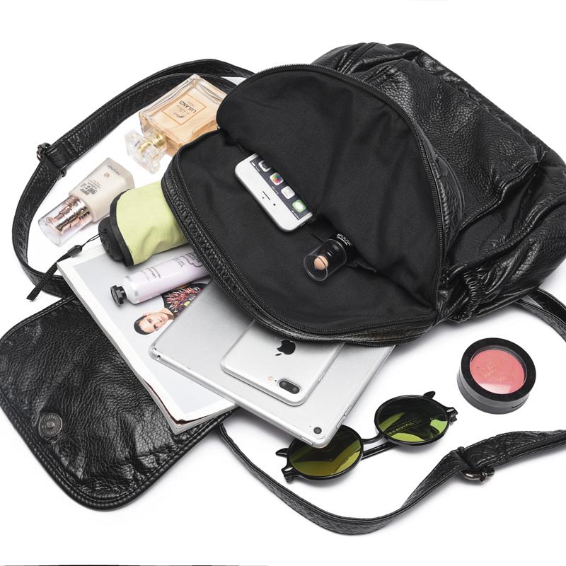 双肩包女韩版2018新款软皮潮流水洗皮背包时尚pu女士休闲旅行包包