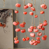 Simulation with frost hanging persimmons persimmon fake fall fruit ornaments decorate the living room red fruit wishful persimmon persimmon