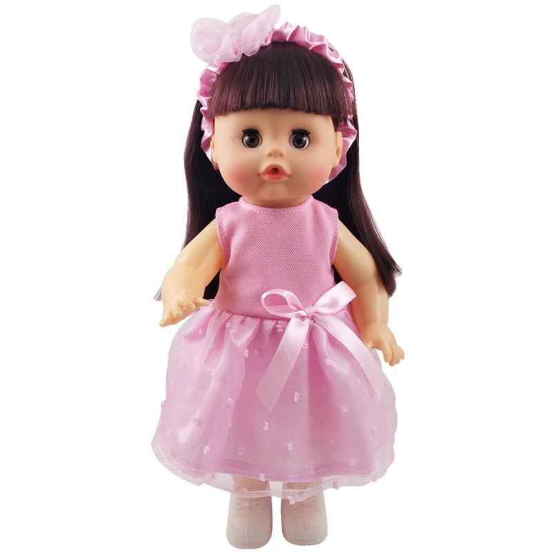 儿童女孩玩具仿真眨眼洋娃娃带小推车摇篮会说话喝水尿尿娃娃套装