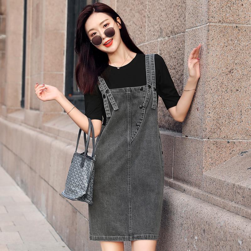 2020夏装新款牛仔背带裙女气质洋气减龄显瘦短袖连衣裙子两件套装