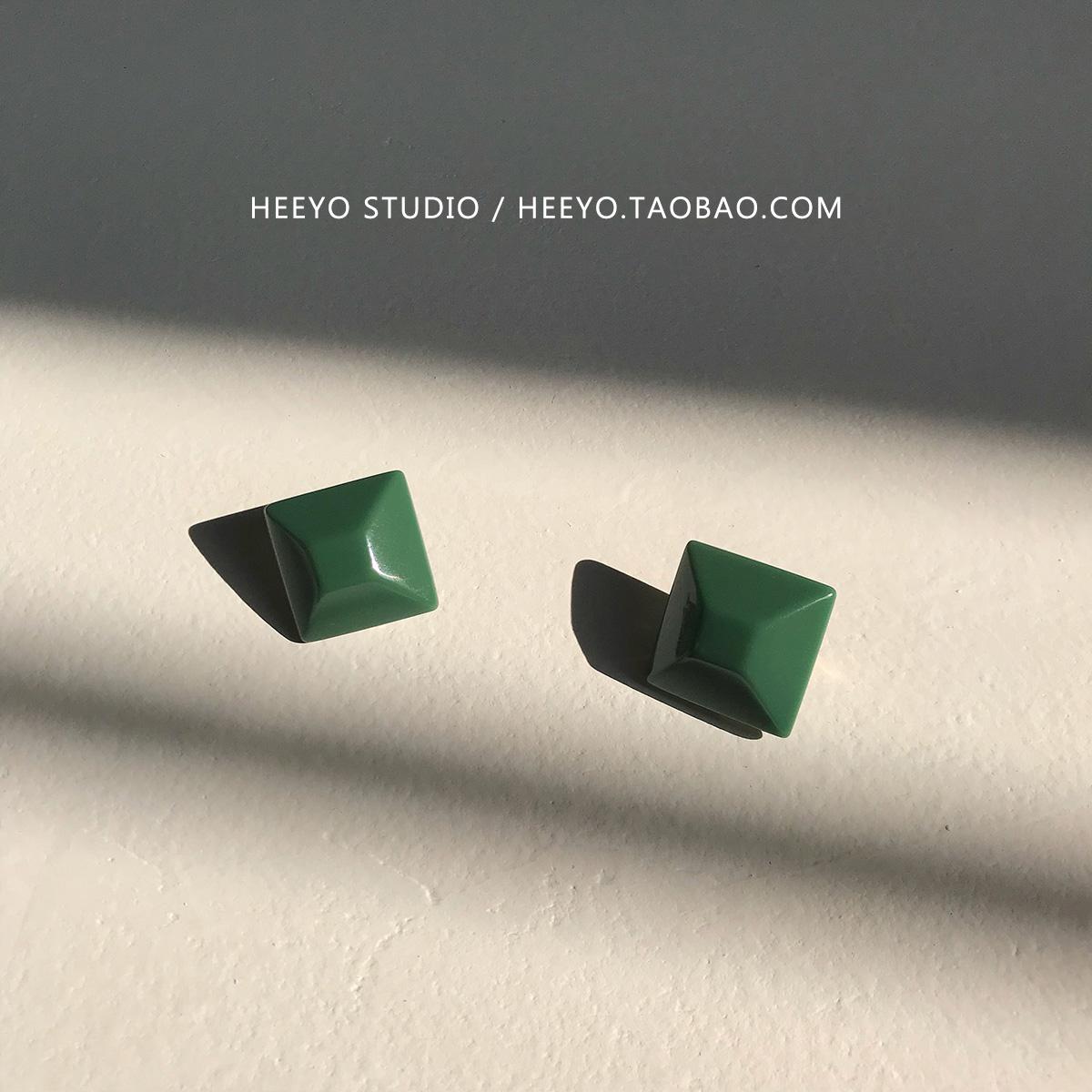 Heeyo 墨绿色切面方形油画复古纯银耳钉港风简约气质耳环耳夹女
