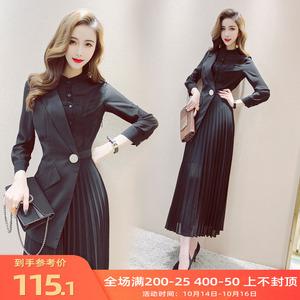 连衣裙秋装2019年新款韩版气质女人味V领假两件长袖拼接压褶长裙