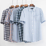 Bolton/boton plaid short-sleeved shirt men's summer business cotton middle-aged father and father outfit