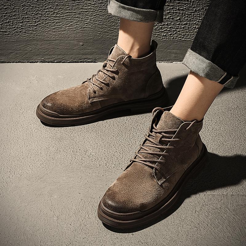 秋季韩版潮流百搭军靴工装鞋英伦高帮靴子真皮中邦战术马丁靴男潮
