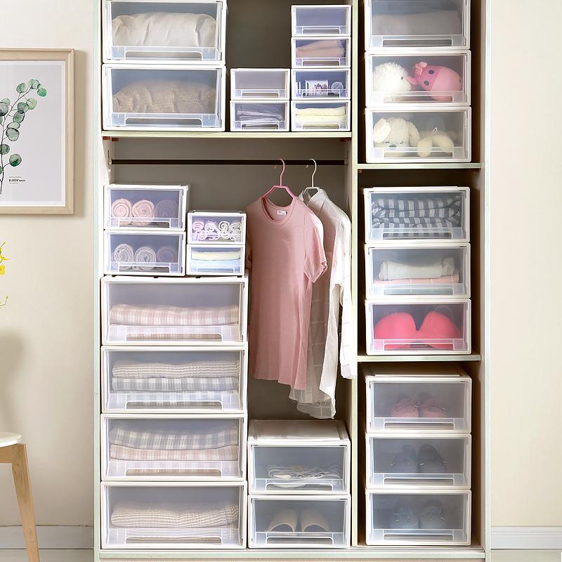 收纳箱抽屉式塑料透明储物柜子衣服内衣衣物整理箱神器衣柜收纳盒