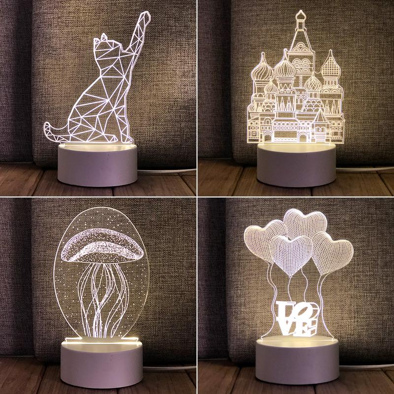 网红卡通可爱婴儿喂奶护眼立体定制 led 卧室插电 3D 小夜灯床头台灯