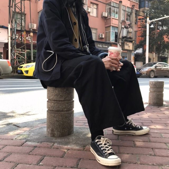Spring and summer retro solid color stitching niche straight overalls men and women couples Japanese trend oversized casual wide-leg pants