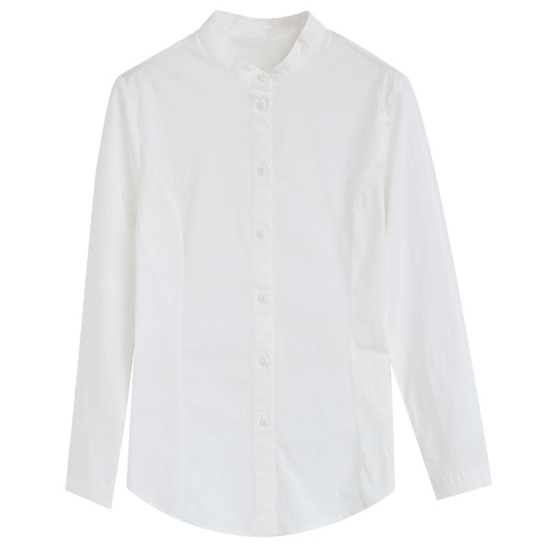 长袖白色小立领衬衫女夏打底职业上衣女小清新修身气质休闲衬衣秋主图