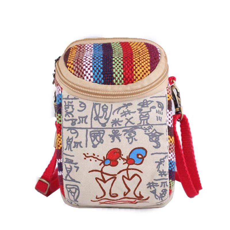 新款手機包包6寸女迷你小包零錢包小方包民族風布藝斜挎包手機袋