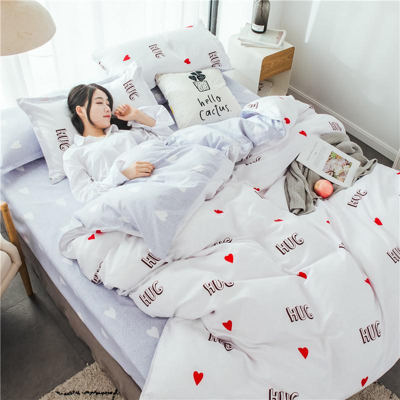 1卡通床上用品四件套全棉纯棉1.8m床单被罩1.5米被套学生宿舍4件