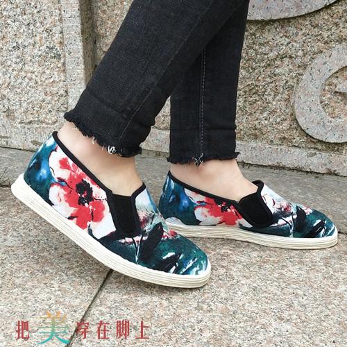 清秀雅緻荷花千層底布鞋 女士休閒鞋中老年老北京千層底單鞋