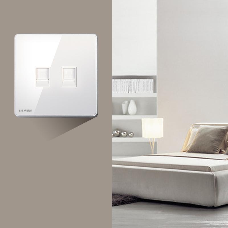 西门子睿智系列钛银开关插座面板二位电话电脑插座面板86型墙壁插