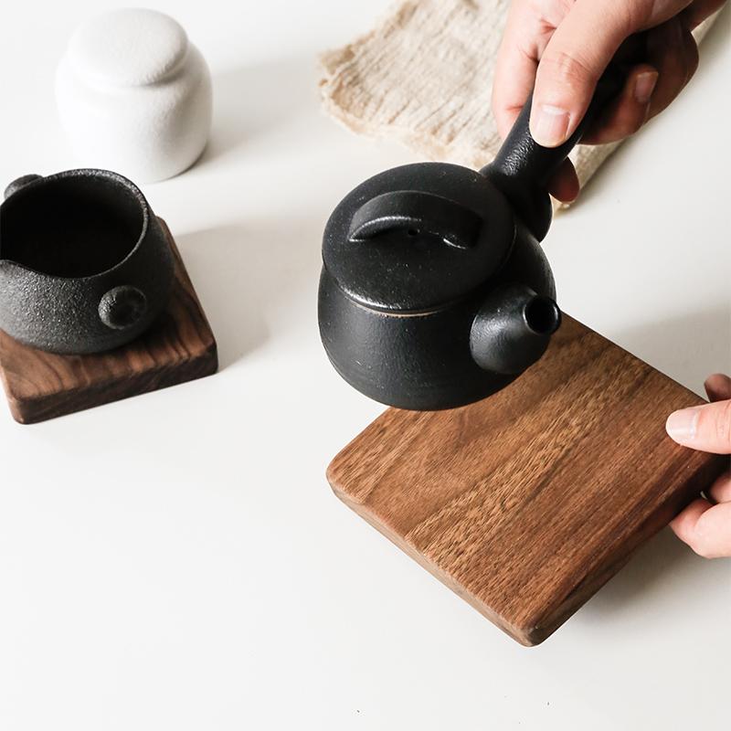 高檔黑胡桃實木杯墊隔熱墊方形手工杯託廚房餐具墊碗墊茗茶墊
