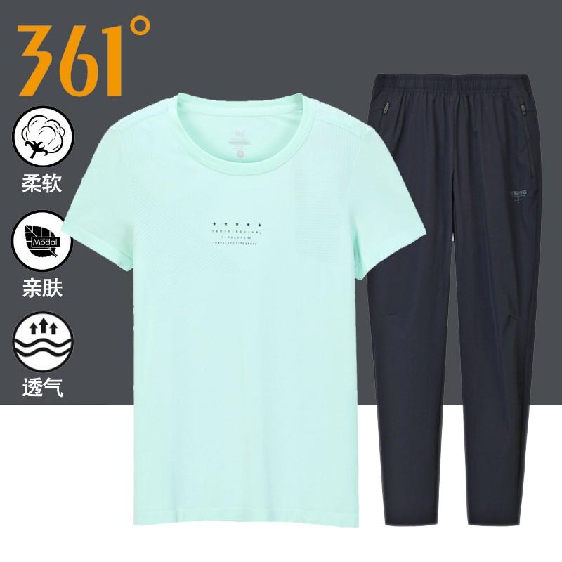 361度运动服女套装夏季新款361女士速干透气圆领短袖T恤九分裤