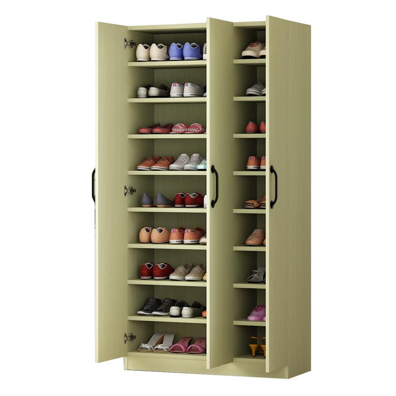 包邮现代简约大容量木质鞋柜储物阳台柜门厅两门三门四门简易鞋柜