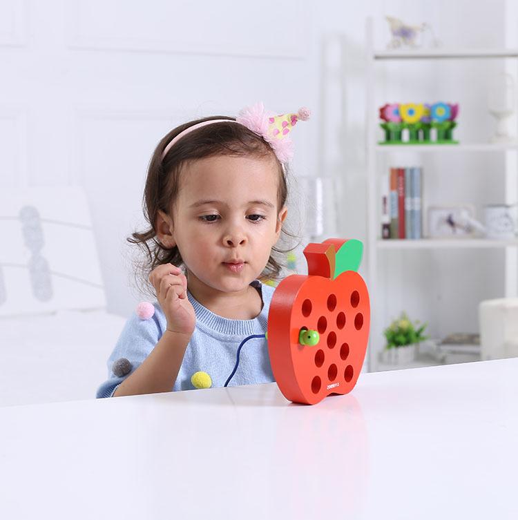 锻炼儿童注意力逻辑思维能力的玩具木制穿线绕珠串珠益智超大号