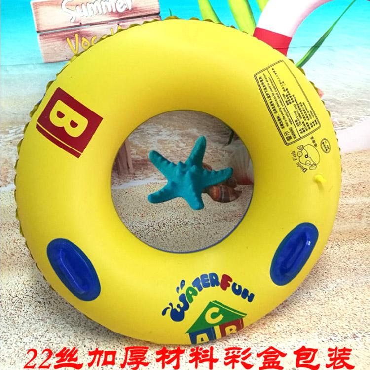 特厚游泳圈大人兒童腋下救生圈學游泳裝備帶扶手加厚充氣泳圈廠家