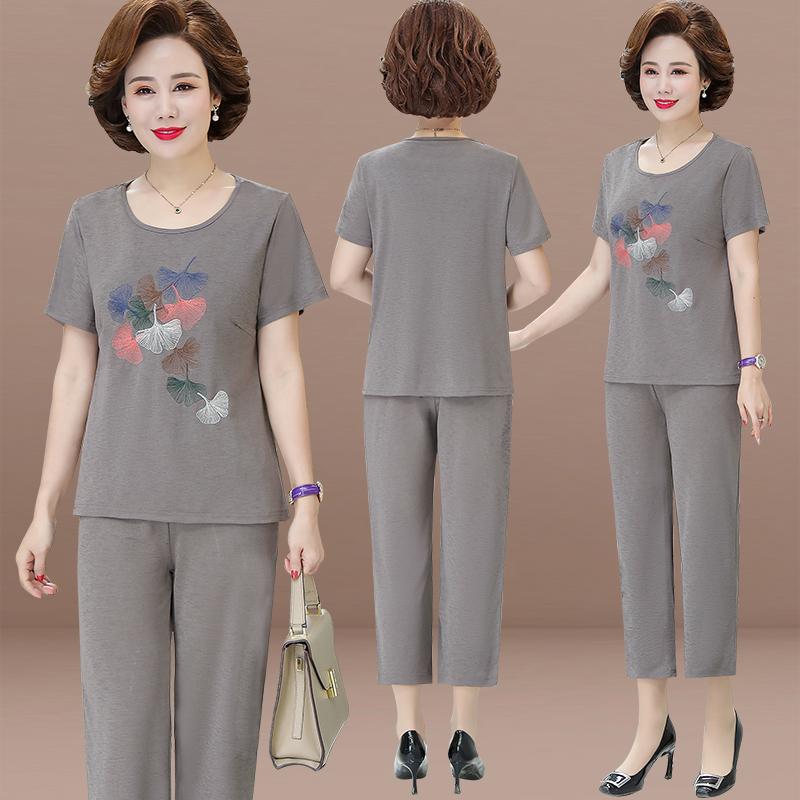 新款中老年女装  恤老人衣服奶奶宽松两件套 T 妈妈夏装短袖套装 2020