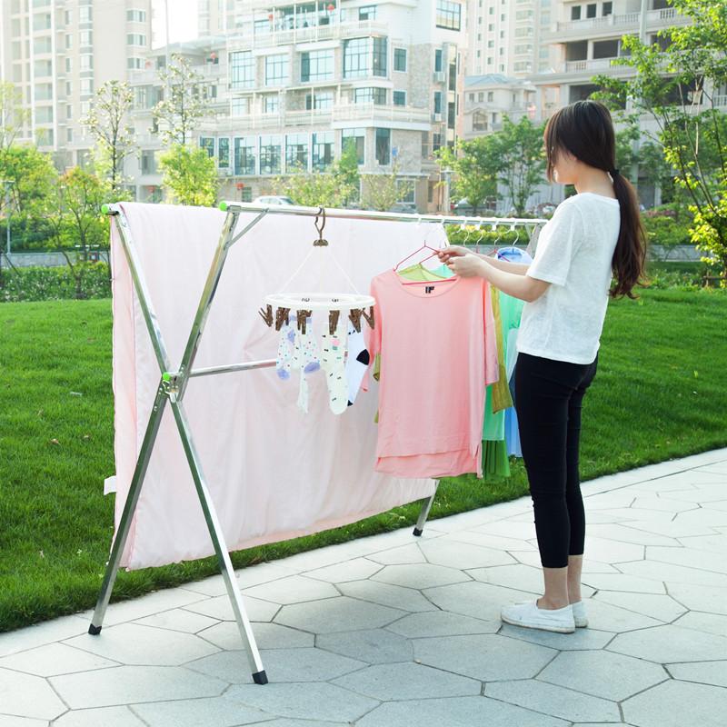 落地折叠晾衣架不锈钢阳台双杆式晒衣服被架室内外置地式伸缩衣架