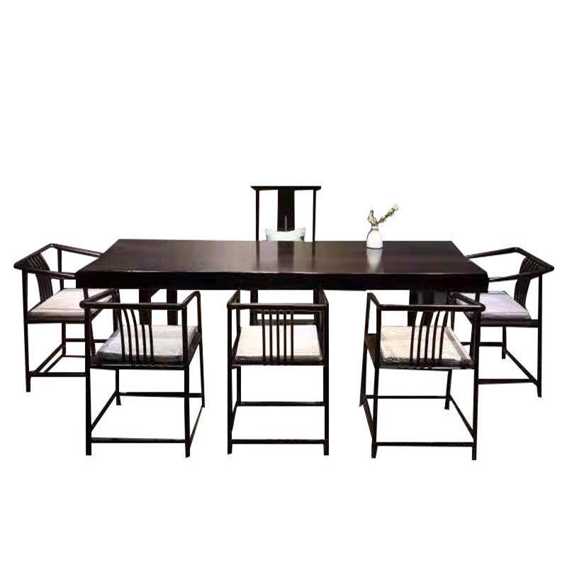 黑檀实木大板桌原木茶桌茶台茶板茶几整块台面画案书桌茶桌椅组合