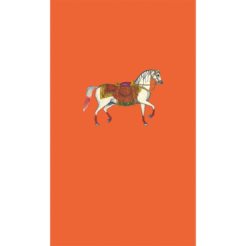 进口墙纸哈拉和林现代简约橙色骏马图案玄关客厅壁纸 1 定制 MASAR