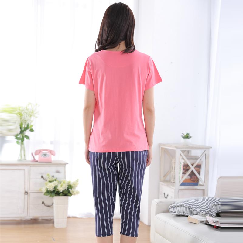 香港康谊睡衣女纯棉夏季短袖七分裤女士卡通睡衣全棉家居服套装女