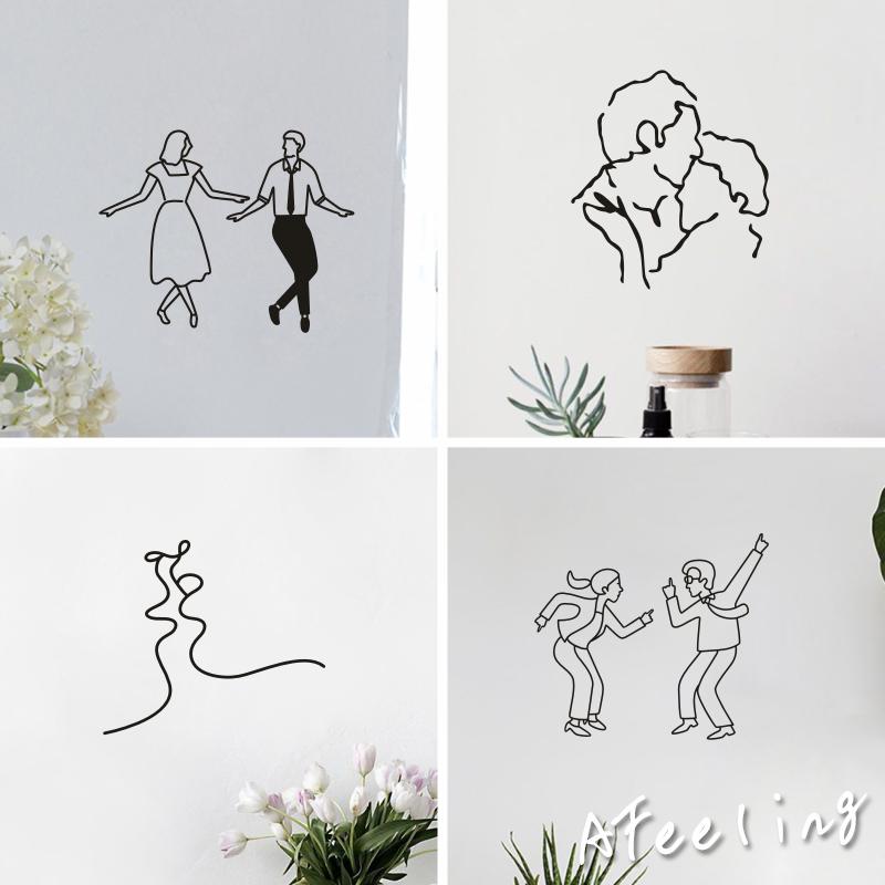 尬舞网红北欧风搞怪社会人拍照抽象少女卧室背景自粘墙贴纸 ins