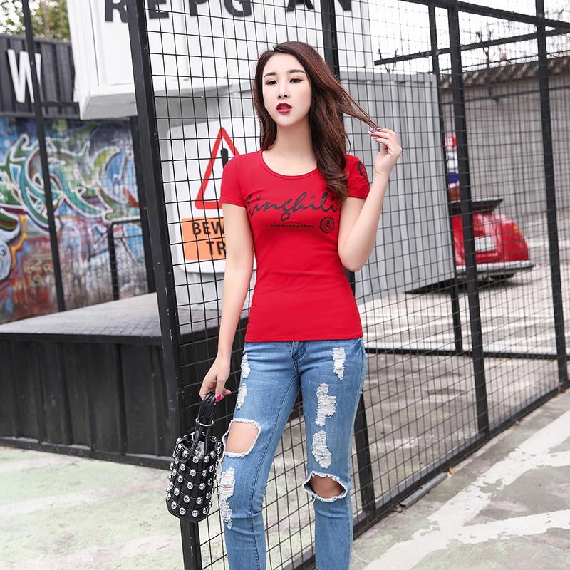 圓領t恤女短袖夏裝新款韓版純棉修身顯瘦字母印花上衣緊身打底衫
