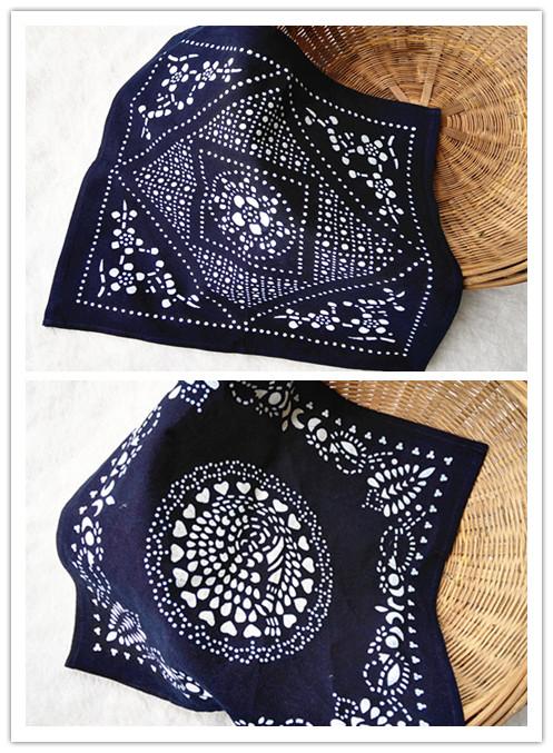 乌镇手工蜡染蓝印花布小方巾民族风手帕餐垫茶几布防尘盖巾装饰布